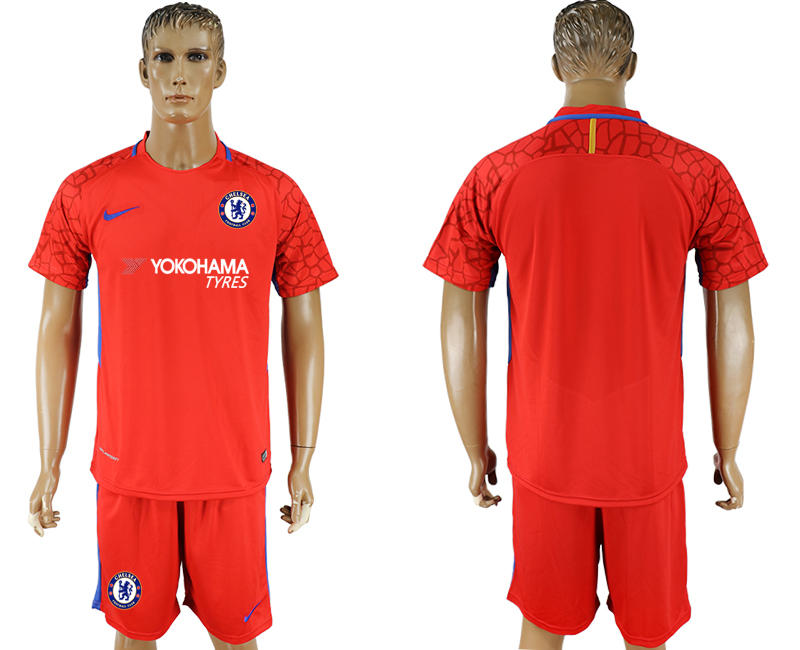 Men 2017-2018 club Chelsea red goalkeeper soccer jersey