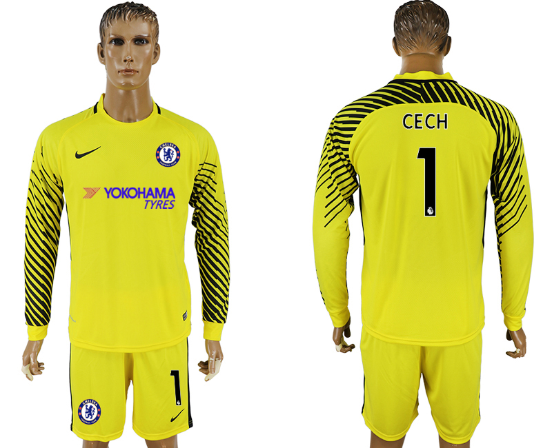 Men 2017-2018 club Chelsea yellow goalkeeper long sleeve 1 soccer jersey