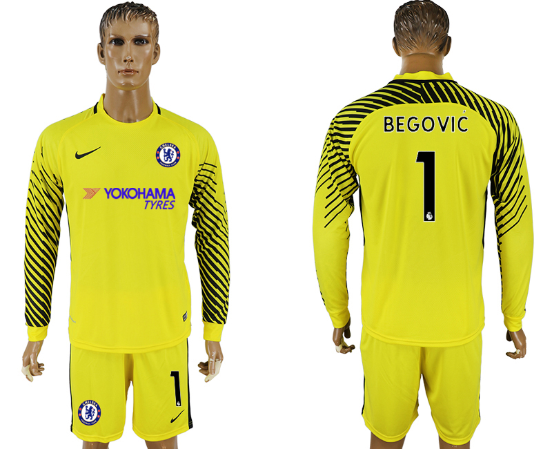 Men 2017-2018 club Chelsea yellow goalkeeper long sleeve 1 soccer jersey1