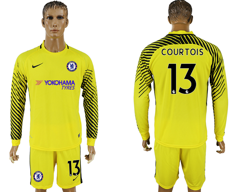 Men 2017-2018 club Chelsea yellow goalkeeper long sleeve 13 soccer jersey