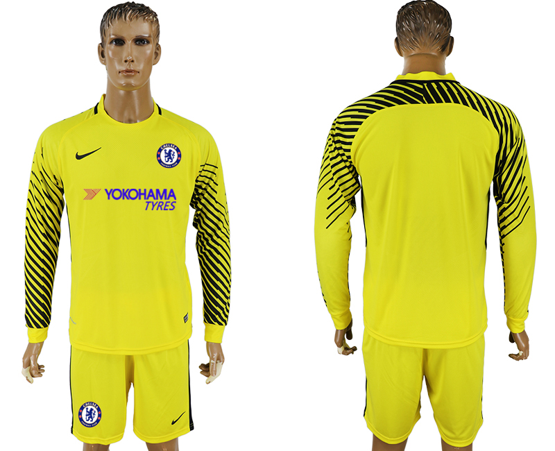 Men 2017-2018 club Chelsea yellow goalkeeper long sleeve soccer jersey