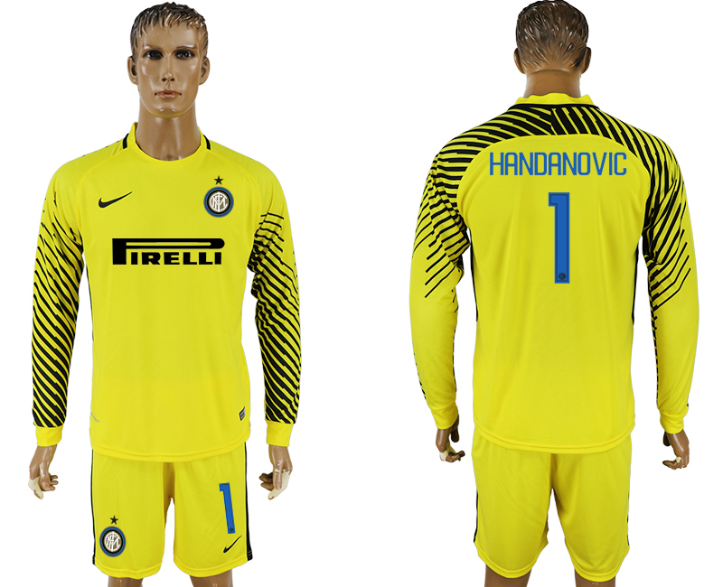 Men 2017-2018 club Inter milan yellow goalkeeper long sleeve 1 soccer jersey