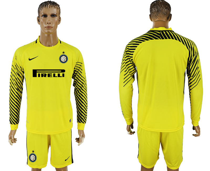 Men 2017-2018 club Inter milan yellow goalkeeper long sleeve soccer jersey