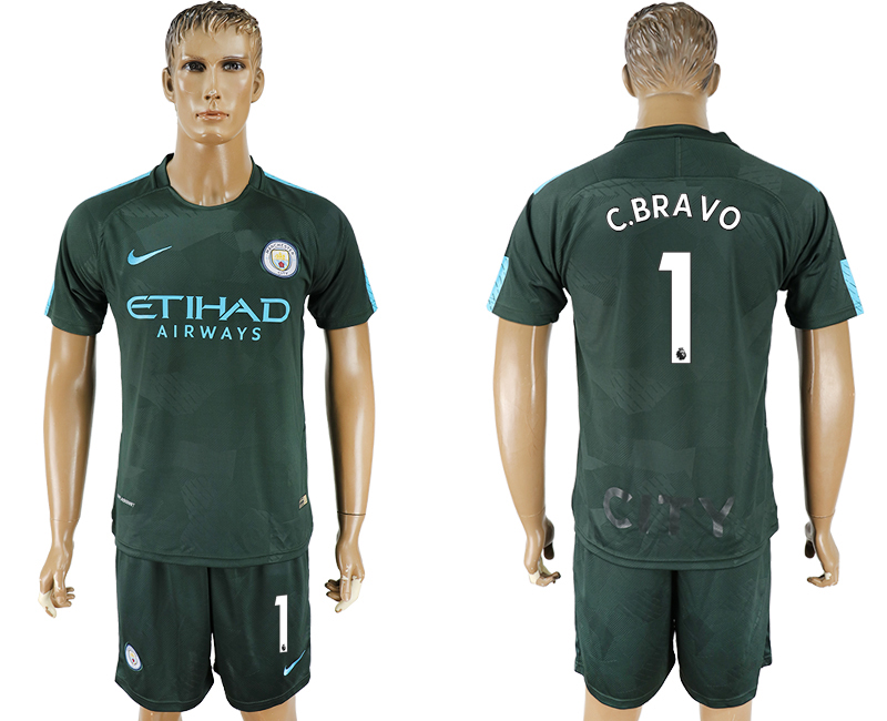 Men 2017-2018 club Manchester city Second away 1 green soccer jersey