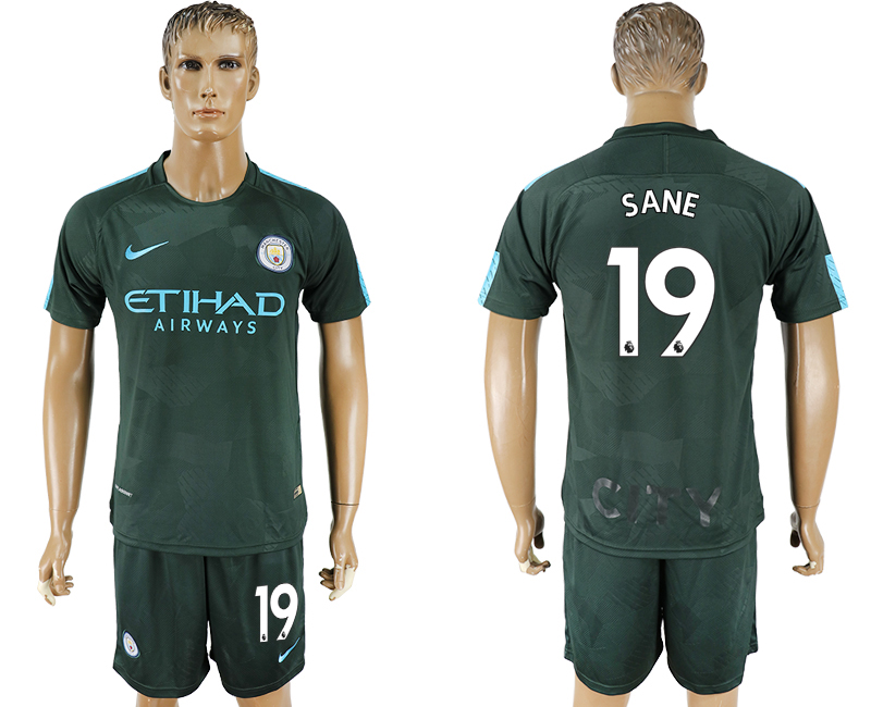 Men 2017-2018 club Manchester city Second away 19 green soccer jersey