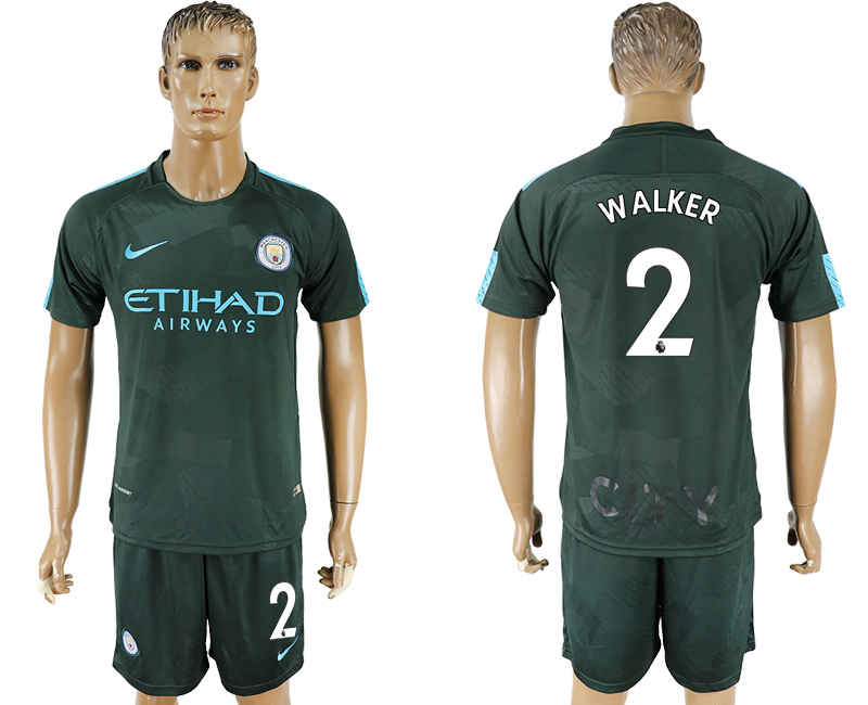 Men 2017-2018 club Manchester city Second away 2 green soccer jersey