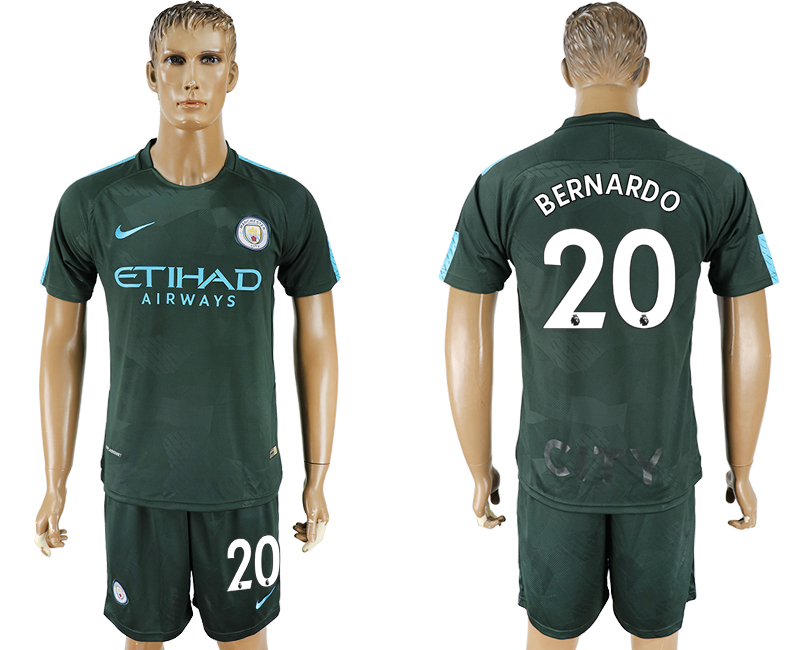 Men 2017-2018 club Manchester city Second away 20 green soccer jersey