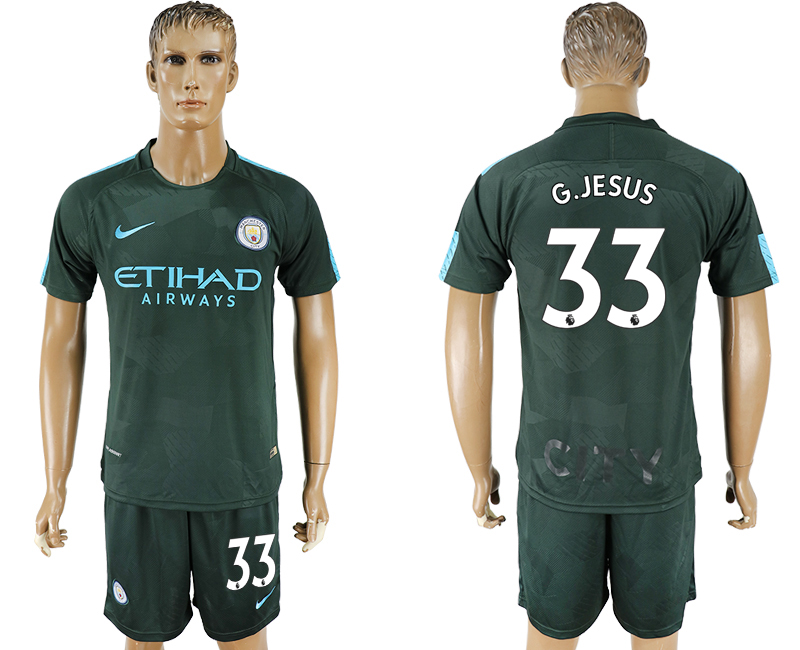 Men 2017-2018 club Manchester city Second away 33 green soccer jersey