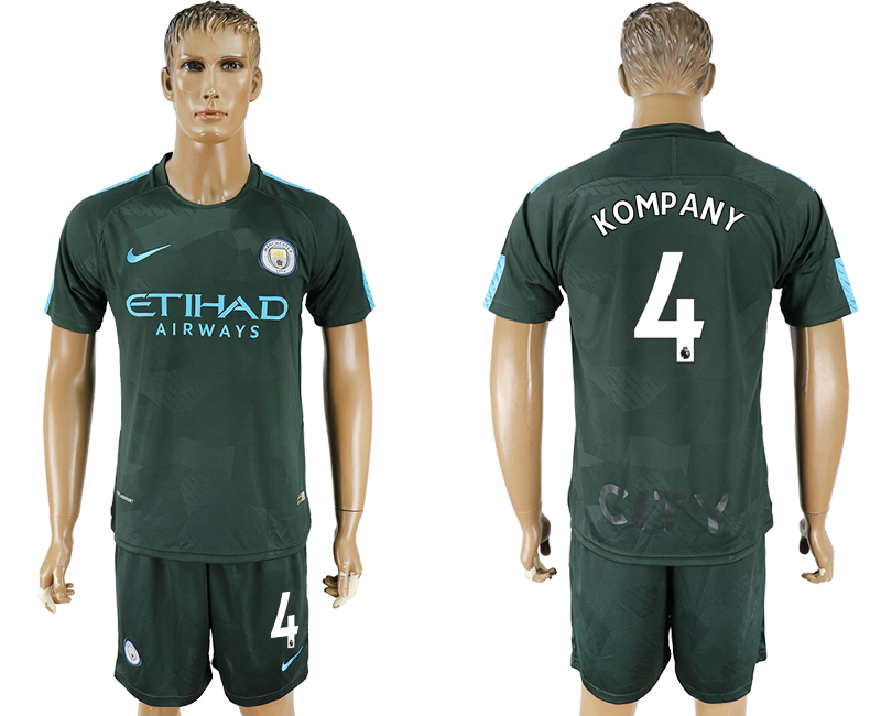 Men 2017-2018 club Manchester city Second away 4 green soccer jersey