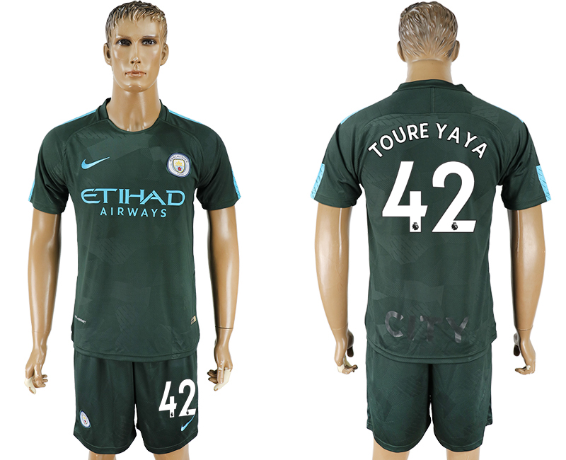 Men 2017-2018 club Manchester city Second away 42 green soccer jersey