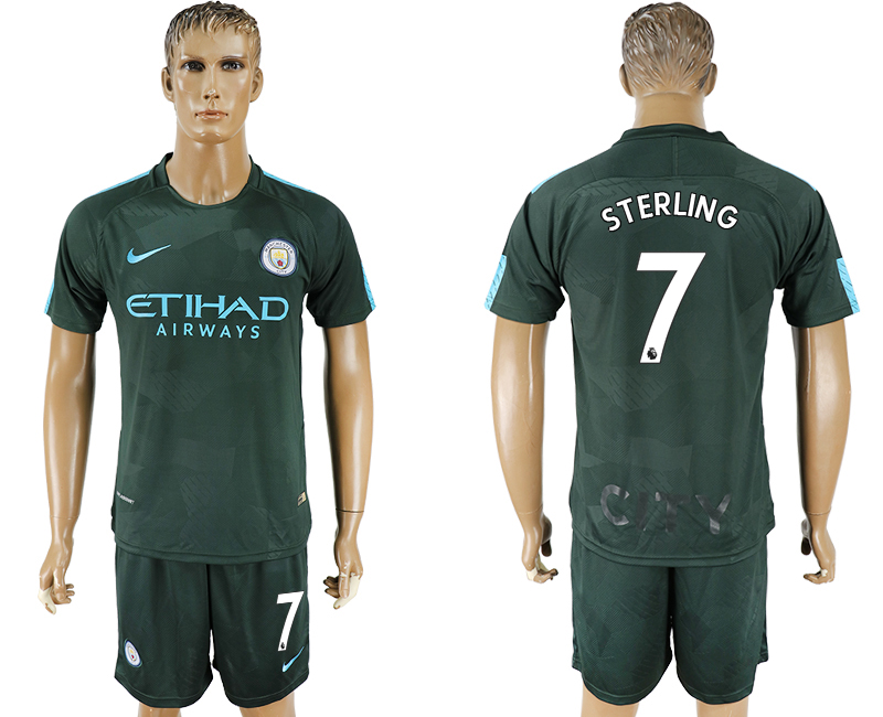 Men 2017-2018 club Manchester city Second away 7 green soccer jersey