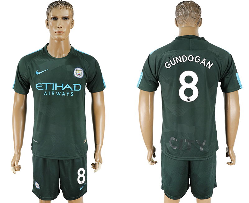 Men 2017-2018 club Manchester city Second away 8 green soccer jersey