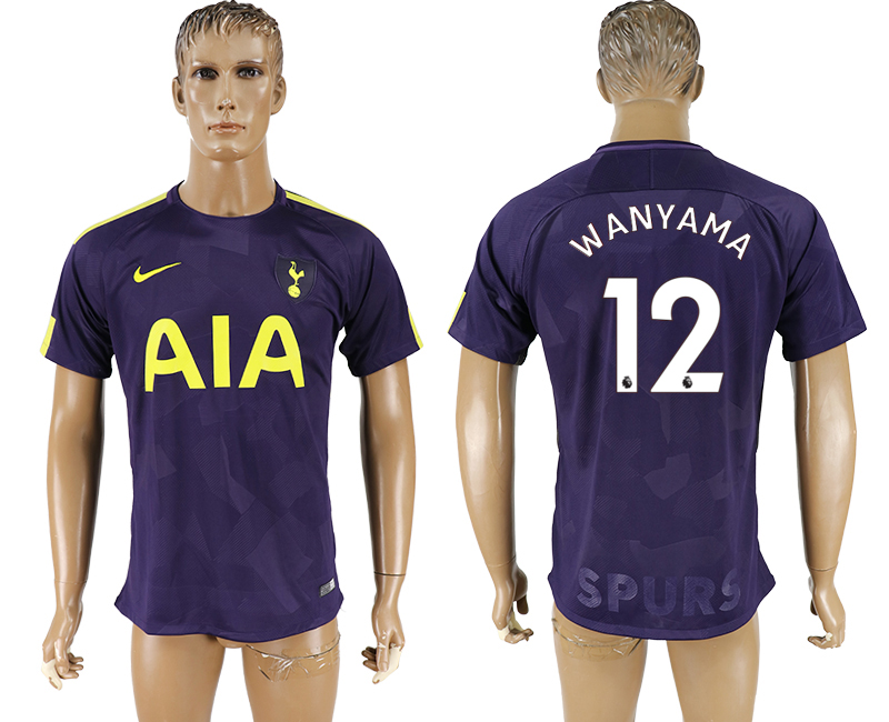 Men 2017-2018 club Tottenham Hotspur Second away aaa versio 12 purple soccer jersey