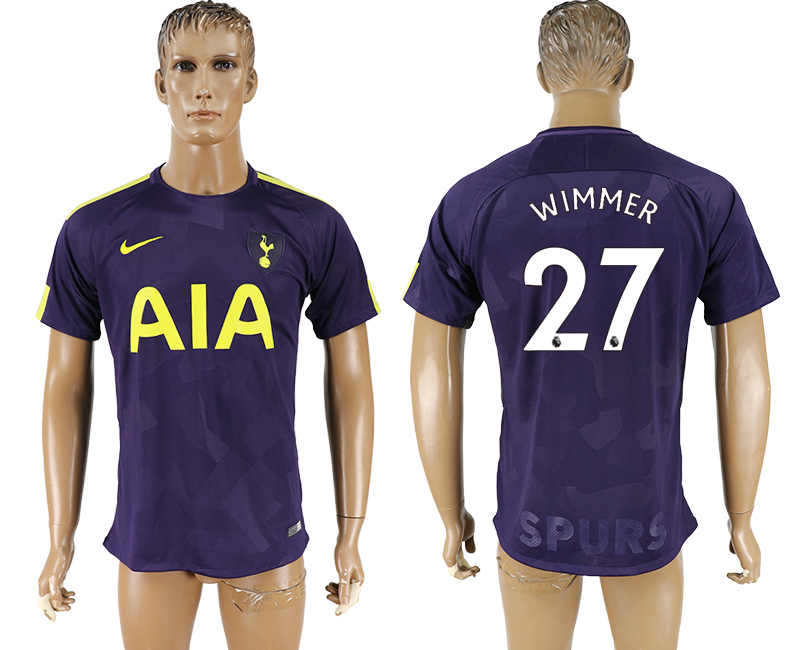 Men 2017-2018 club Tottenham Hotspur Second away aaa versio 27 purple soccer jersey