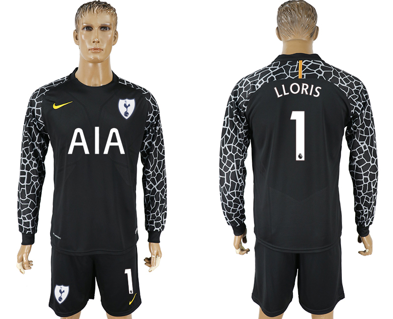 Men 2017-2018 club Tottenham Hotspur black goalkeeper Long sleeve 1 soccer jersey