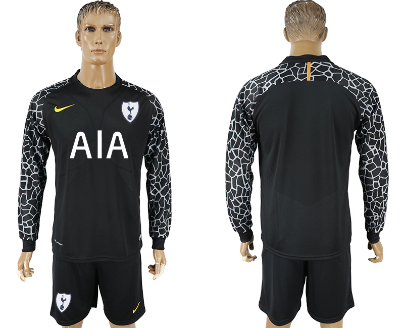 Men 2017-2018 club Tottenham Hotspur black goalkeeper Long sleeve soccer jersey