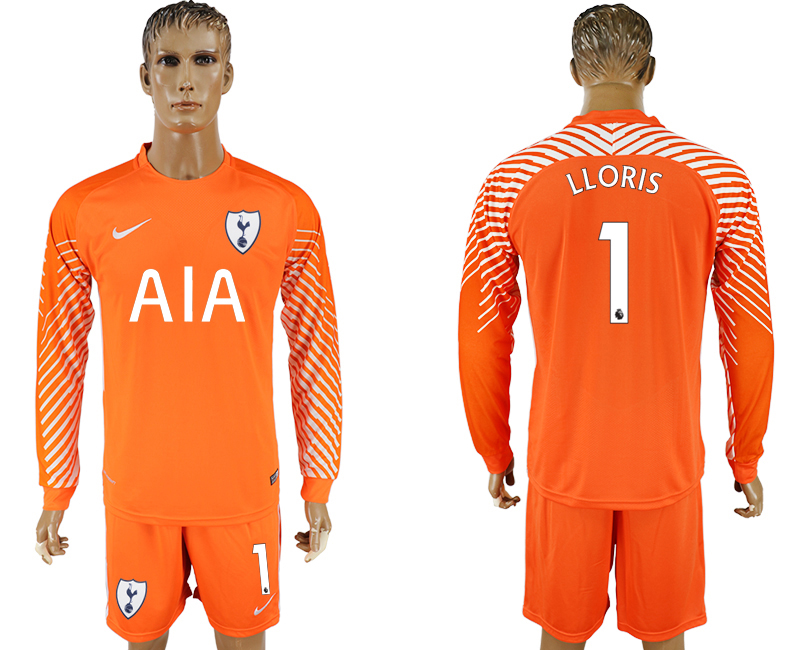 Men 2017-2018 club Tottenham Hotspur orenge goalkeeper long sleeve 1 soccer jersey