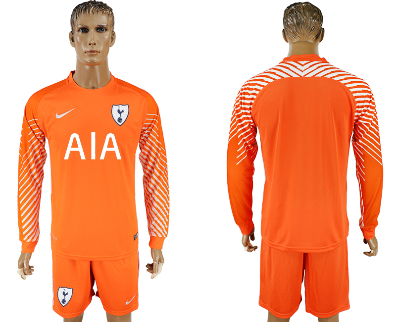 Men 2017-2018 club Tottenham Hotspur orenge goalkeeper long sleeve soccer jersey