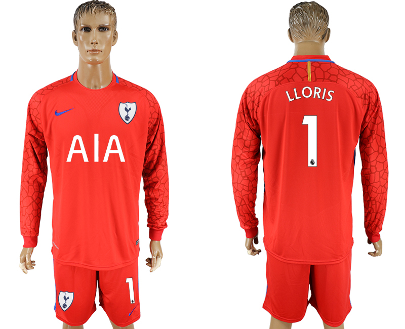 Men 2017-2018 club Tottenham Hotspur red goalkeeper long sleeve 1 soccer jersey