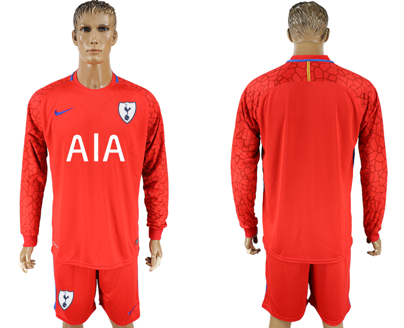 Men 2017-2018 club Tottenham Hotspur red goalkeeper long sleeve soccer jersey