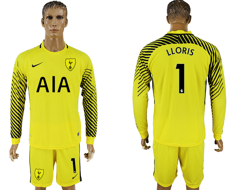 Men 2017-2018 club Tottenham Hotspur yellow goalkeeper long sleeve 1 soccer jersey