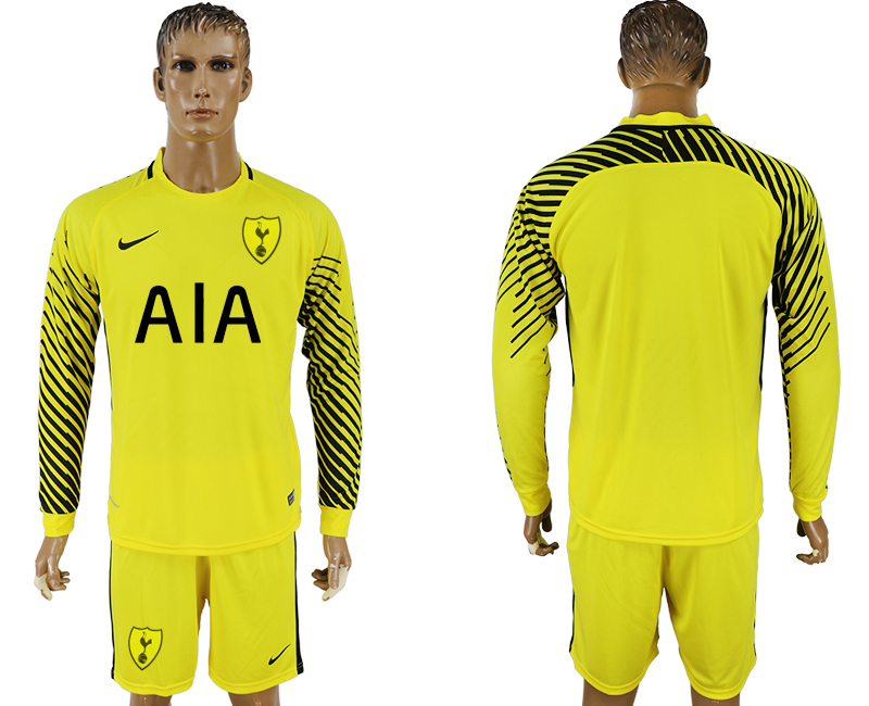 Men 2017-2018 club Tottenham Hotspur yellow goalkeeper long sleeve soccer jersey