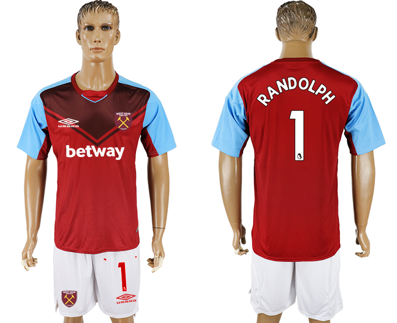 Men 2017-2018 club West Ham United home 1 red soccer jersey