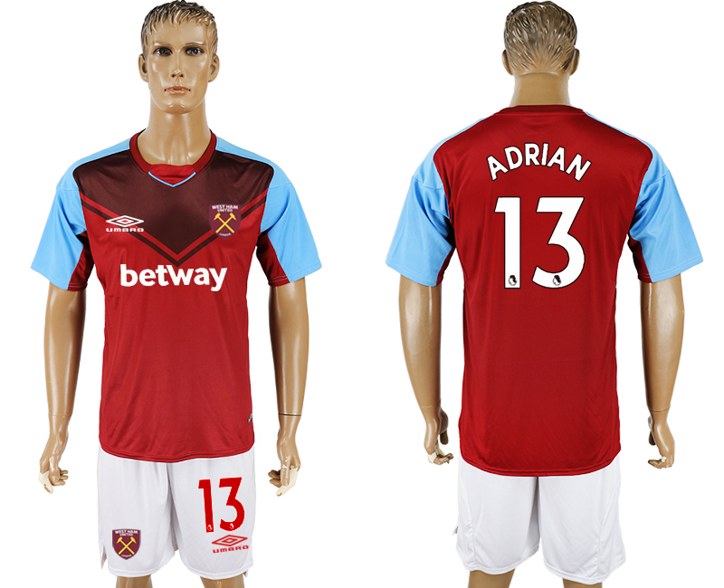 Men 2017-2018 club West Ham United home 13 red soccer jersey