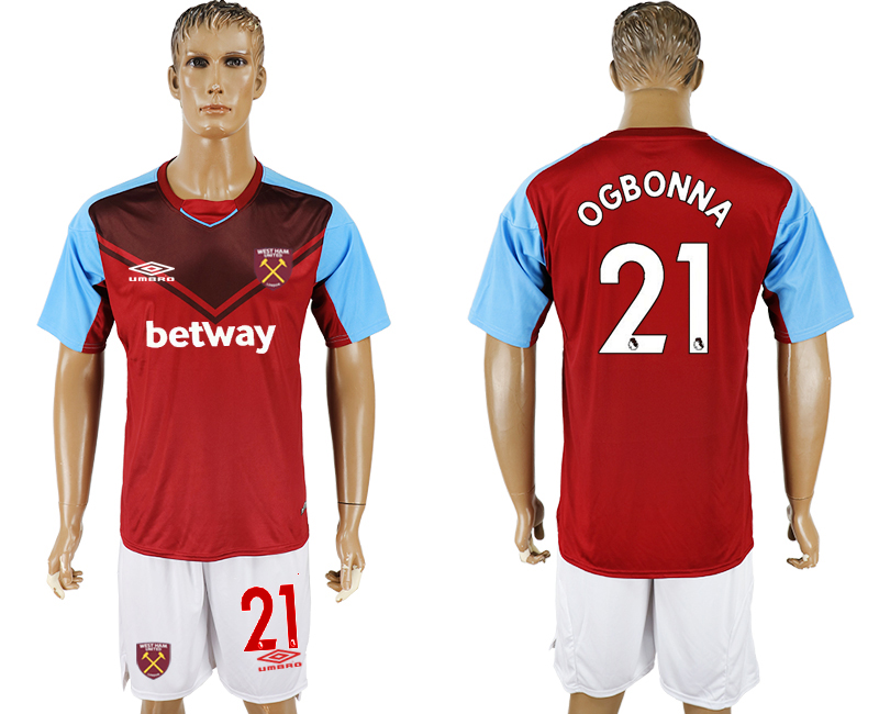 Men 2017-2018 club West Ham United home 21 red soccer jersey