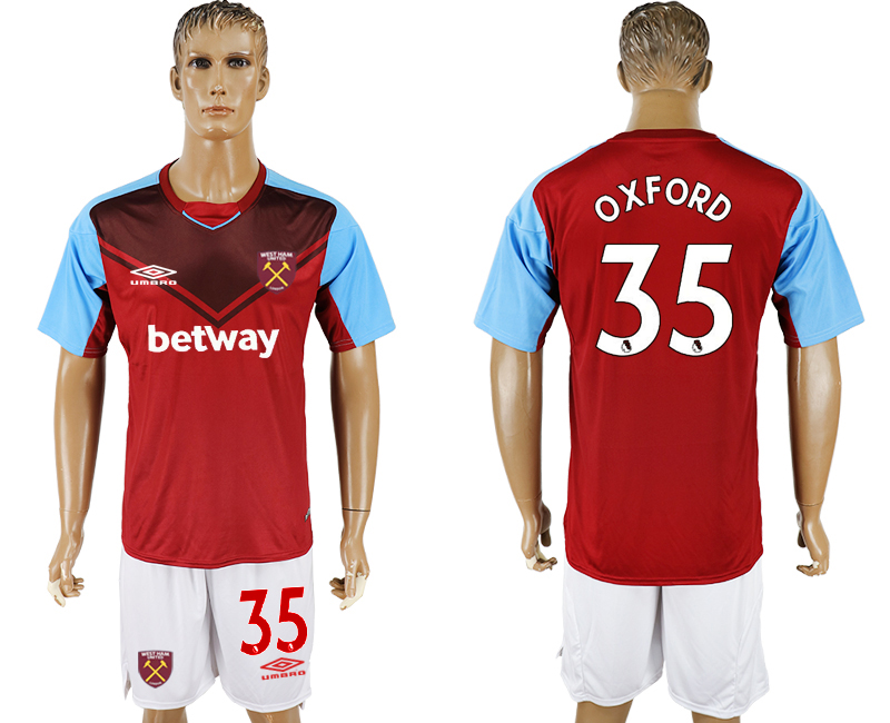 Men 2017-2018 club West Ham United home 35 red soccer jersey