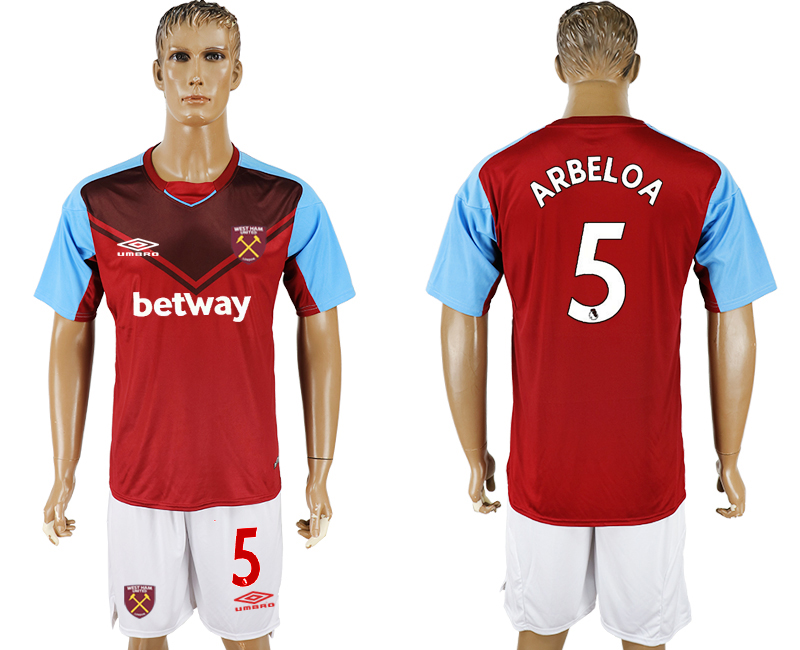 Men 2017-2018 club West Ham United home 5 red soccer jersey