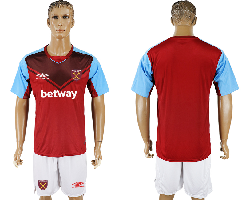Men 2017-2018 club West Ham United home blank red soccer jersey