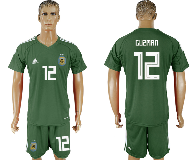 Men 2018 World Cup Argentina Army green goalkeeper 12 soccer jersey
