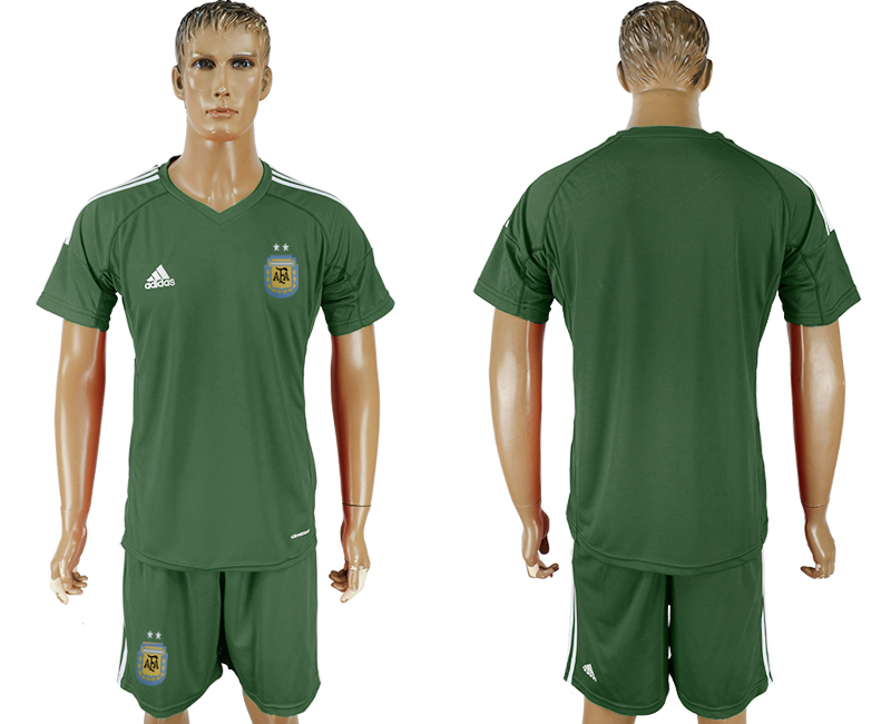 Men 2018 World Cup Argentina Army green goalkeeper blank soccer jersey