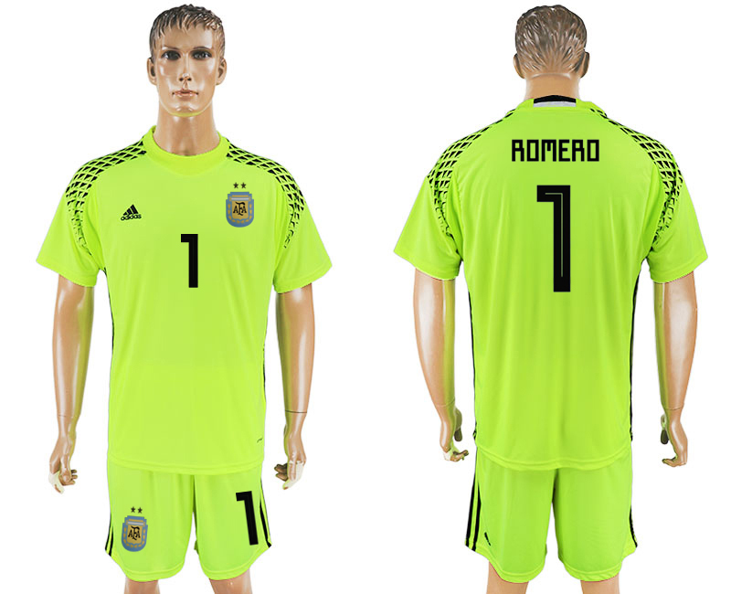 Men 2018 World Cup Argentina fluorescent green goalkeeper 1 soccer jersey