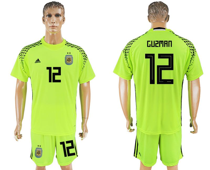 Men 2018 World Cup Argentina fluorescent green goalkeeper 12 soccer jersey