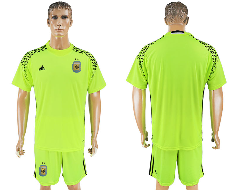 Men 2018 World Cup Argentina fluorescent green goalkeeper blank soccer jersey