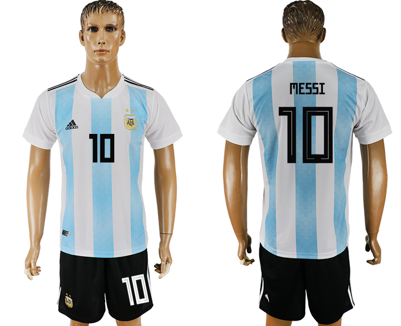 Men 2018 World Cup Argentina home 10 white soccer jersey1
