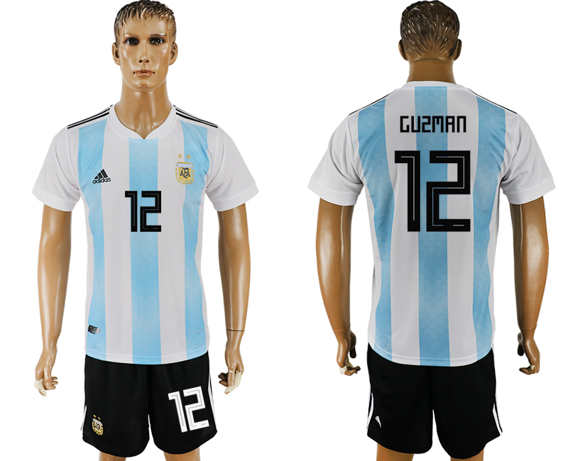 Men 2018 World Cup Argentina home 12 white soccer jersey
