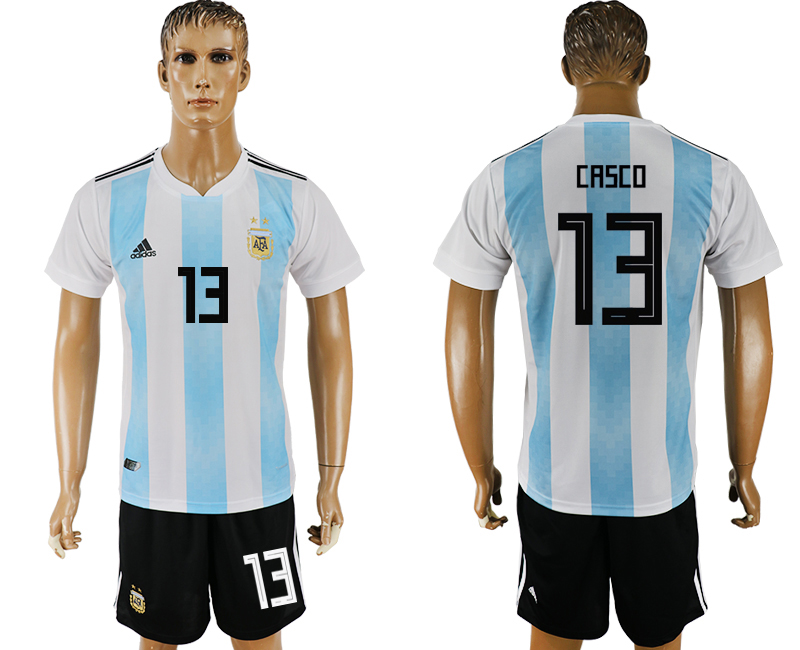 Men 2018 World Cup Argentina home 13 white soccer jersey