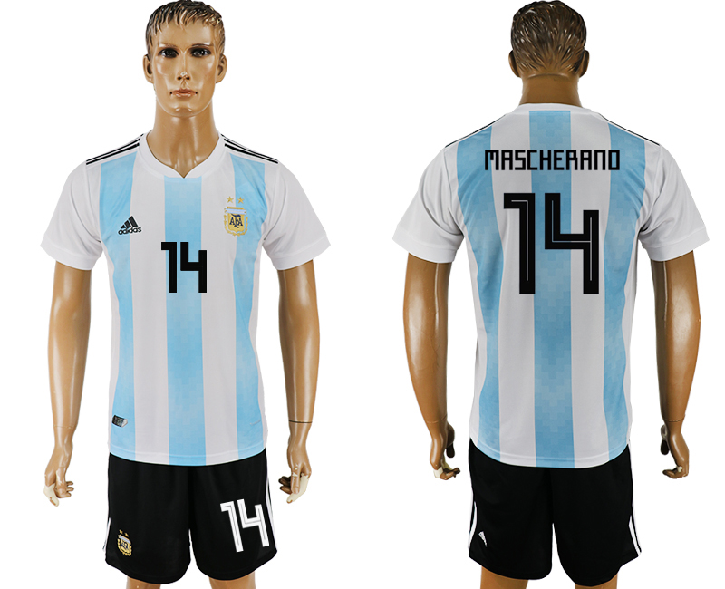 Men 2018 World Cup Argentina home 14 white soccer jersey