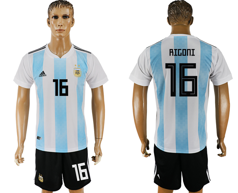 Men 2018 World Cup Argentina home 16 white soccer jersey
