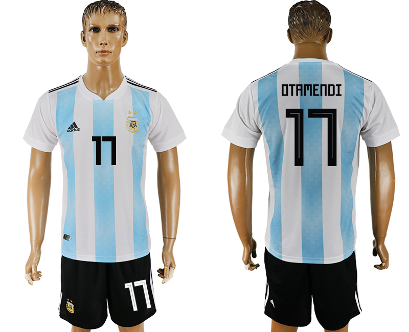 Men 2018 World Cup Argentina home 17 white soccer jersey