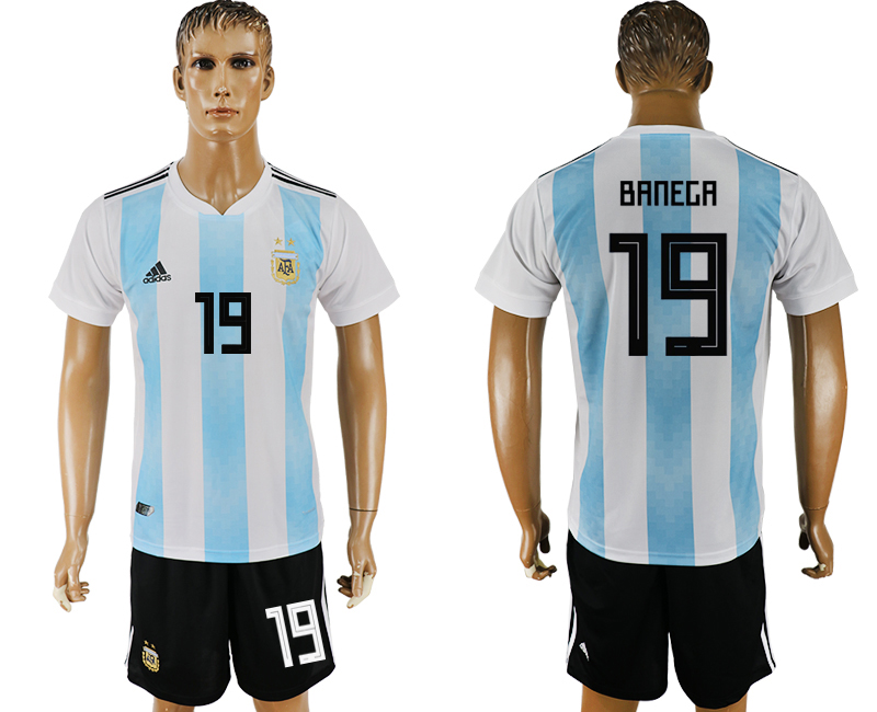 Men 2018 World Cup Argentina home 19 white soccer jersey