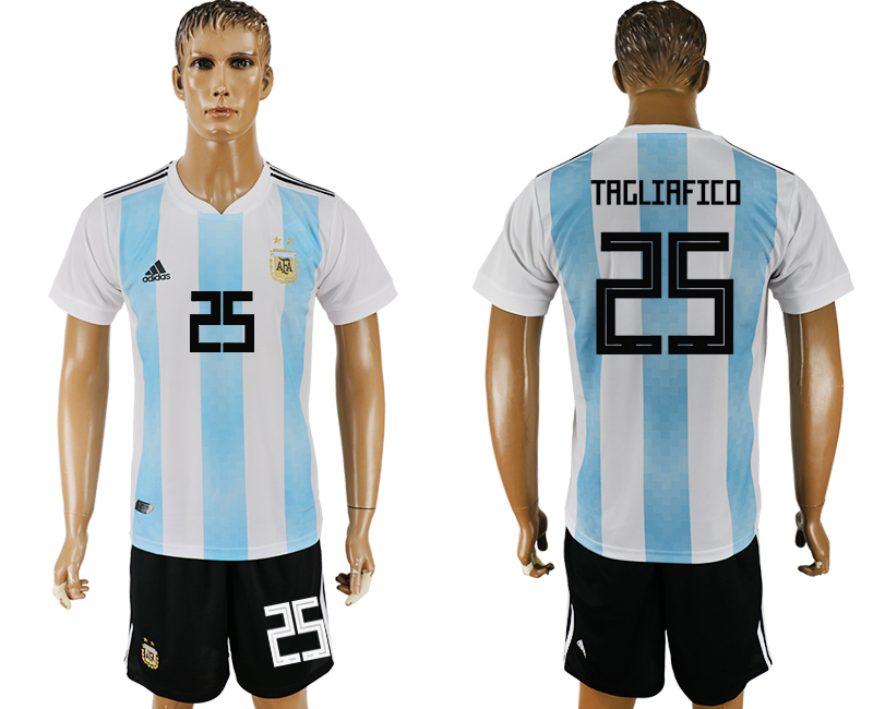 Men 2018 World Cup Argentina home 25 white soccer jersey
