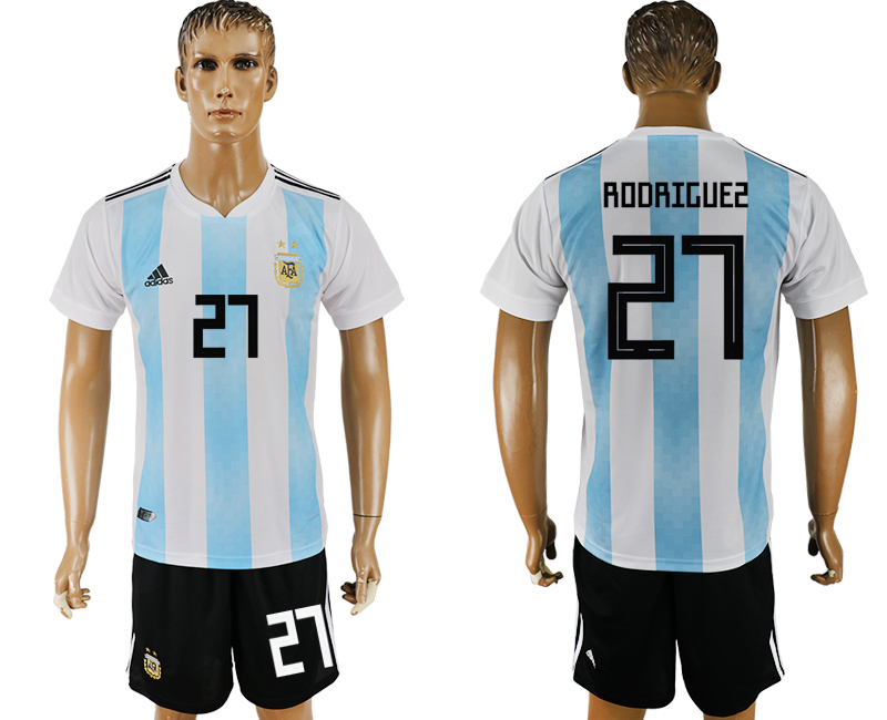 Men 2018 World Cup Argentina home 27 white soccer jersey