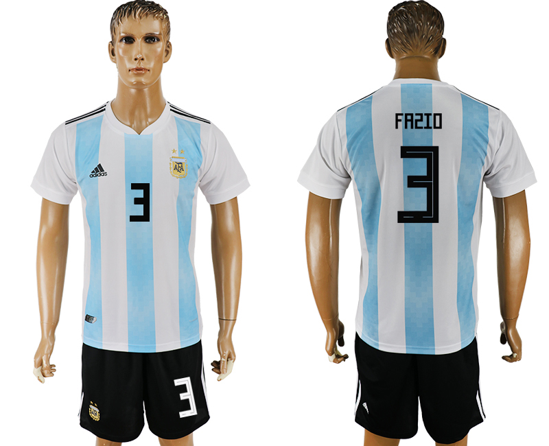 Men 2018 World Cup Argentina home 3 white soccer jersey