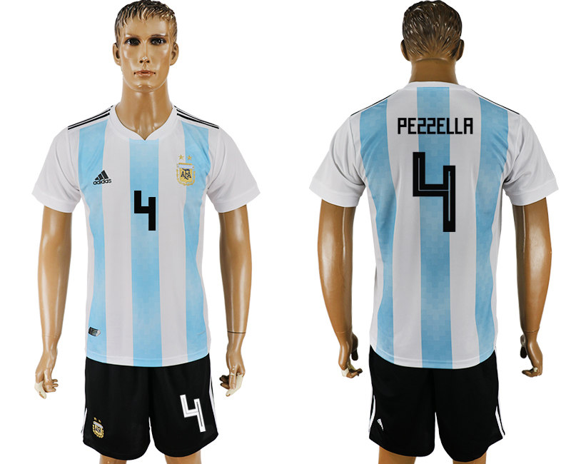 Men 2018 World Cup Argentina home 4 white soccer jersey