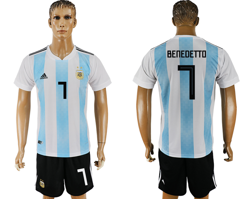 Men 2018 World Cup Argentina home 7 white soccer jersey