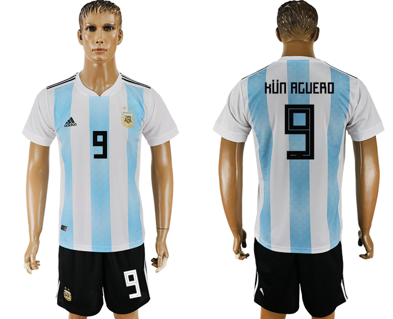 Men 2018 World Cup Argentina home 9 white soccer jersey